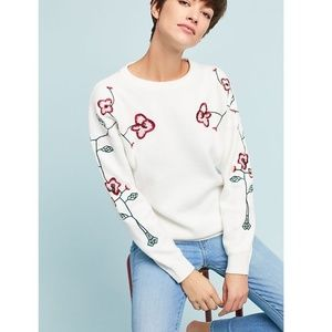 Anthropologie Minnie Embroidered Pullover